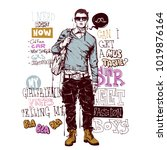 banner with stylish boy in... | Shutterstock .eps vector #1019876164