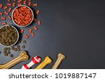dry dog pet food in bowl and...   Shutterstock . vector #1019887147