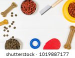 dry dog pet food in bowl and...   Shutterstock . vector #1019887177