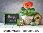 easter decorations on gray... | Shutterstock . vector #1019892127