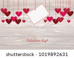 red hearts and blank paper with ...   Shutterstock .eps vector #1019892631