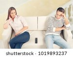 unhappy young couple arguing... | Shutterstock . vector #1019893237
