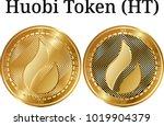 set of physical golden coin...   Shutterstock .eps vector #1019904379
