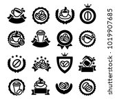 coffee labels and icons set.... | Shutterstock .eps vector #1019907685