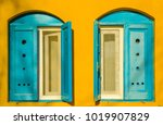 Blue Old Style Wooden Windows ...