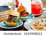 mini meat hamburger food  | Shutterstock . vector #1019908021