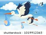many birds with newborn babies...   Shutterstock .eps vector #1019912365