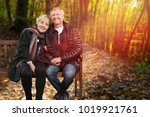loving couple on the bench | Shutterstock . vector #1019921761
