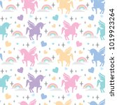 pattern 12 unicorns with...   Shutterstock .eps vector #1019923264