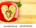 I love Pasta / Spaghetti on a plate and wooden table  / Heart Shape - stock photo