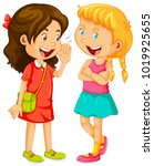 two girls gossipping on white... | Shutterstock .eps vector #1019925655