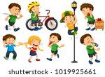 boys and girls doing different... | Shutterstock .eps vector #1019925661
