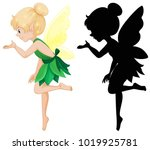 cute fairy and its silhouette... | Shutterstock .eps vector #1019925781