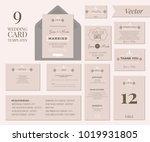 vintage minimal wedding...   Shutterstock .eps vector #1019931805