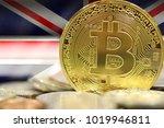 golden bitcoins on uk flag... | Shutterstock . vector #1019946811