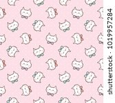 seamless pattern of cute... | Shutterstock .eps vector #1019957284