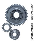 a set of three old steel gears... | Shutterstock . vector #1019963854