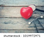 close up red heart and... | Shutterstock . vector #1019972971