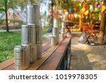 tower of cans in front for... | Shutterstock . vector #1019978305