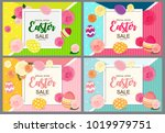 happy easter cute background... | Shutterstock . vector #1019979751
