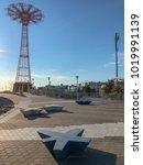 the parachute jump  an... | Shutterstock . vector #1019991139