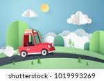 paper art of red car move along ... | Shutterstock .eps vector #1019993269