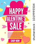 valentine day sale card... | Shutterstock .eps vector #1019995504