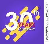 30 years anniversary logo... | Shutterstock .eps vector #1019998771