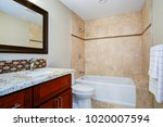 elegant bathroom with a... | Shutterstock . vector #1020007594