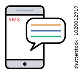 mobile sms color line icon  sms ... | Shutterstock .eps vector #1020012919