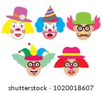 Clowns Set  Icons. Vector...