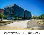 modern office building with... | Shutterstock . vector #1020036259