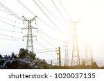 sun setting behind the...   Shutterstock . vector #1020037135