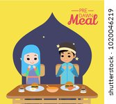 pre dawn meal illustration | Shutterstock .eps vector #1020046219