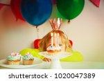 little girl making wish at... | Shutterstock . vector #1020047389