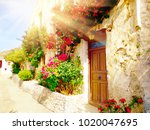 traditional street and houses... | Shutterstock . vector #1020047695