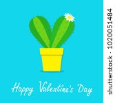 happy valentines day. cactus... | Shutterstock .eps vector #1020051484