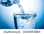 pour carbonated water into a... | Shutterstock . vector #1020053884