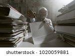 senior office worker showing a... | Shutterstock . vector #1020059881