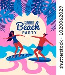 summer vector poster. people on ... | Shutterstock .eps vector #1020062029