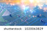 abstract electrical circuit... | Shutterstock . vector #1020063829
