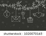 love decorative vintage... | Shutterstock .eps vector #1020070165
