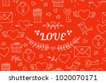 seamless doodles valentine's... | Shutterstock .eps vector #1020070171