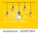 set of hanging light bulbs with ... | Shutterstock .eps vector #1020077854