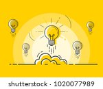 set of light bulbs rocket... | Shutterstock .eps vector #1020077989