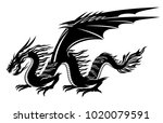 sign of a black dragon on a... | Shutterstock .eps vector #1020079591