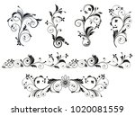 black and white vectore curl... | Shutterstock .eps vector #1020081559