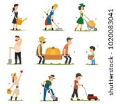 adults and children work on the ... | Shutterstock .eps vector #1020083041