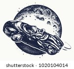 car in space tattoo and t shirt ... | Shutterstock .eps vector #1020104014