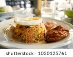 fried rice in american style.... | Shutterstock . vector #1020125761